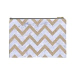 CHEVRON9 WHITE MARBLE & SAND (R) Cosmetic Bag (Large)  Back