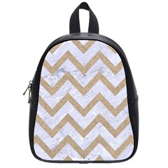 Chevron9 White Marble & Sand (r) School Bag (small)