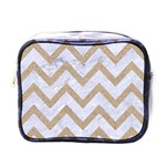 CHEVRON9 WHITE MARBLE & SAND (R) Mini Toiletries Bags Front