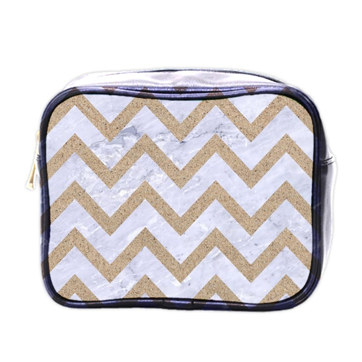 CHEVRON9 WHITE MARBLE & SAND (R) Mini Toiletries Bags