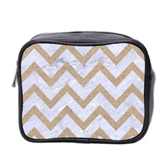 CHEVRON9 WHITE MARBLE & SAND (R) Mini Toiletries Bag 2-Side