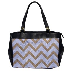 Chevron9 White Marble & Sand (r) Office Handbags