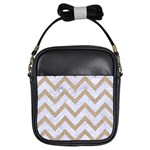 CHEVRON9 WHITE MARBLE & SAND (R) Girls Sling Bags Front