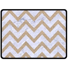 CHEVRON9 WHITE MARBLE & SAND (R) Fleece Blanket (Large)