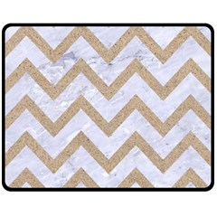 CHEVRON9 WHITE MARBLE & SAND (R) Fleece Blanket (Medium)