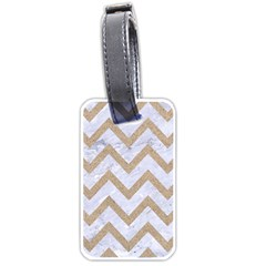 CHEVRON9 WHITE MARBLE & SAND (R) Luggage Tags (Two Sides)