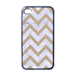 Chevron9 White Marble & Sand (r) Apple Iphone 4 Case (black)