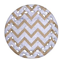CHEVRON9 WHITE MARBLE & SAND (R) Ornament (Round Filigree)