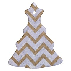 CHEVRON9 WHITE MARBLE & SAND (R) Ornament (Christmas Tree)