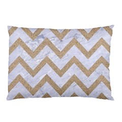 CHEVRON9 WHITE MARBLE & SAND (R) Pillow Case (Two Sides)
