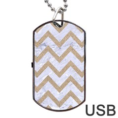 CHEVRON9 WHITE MARBLE & SAND (R) Dog Tag USB Flash (Two Sides)