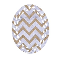 CHEVRON9 WHITE MARBLE & SAND (R) Oval Filigree Ornament (Two Sides)