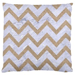 Chevron9 White Marble & Sand (r) Large Cushion Case (one Side) by trendistuff