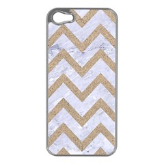 CHEVRON9 WHITE MARBLE & SAND (R) Apple iPhone 5 Case (Silver)
