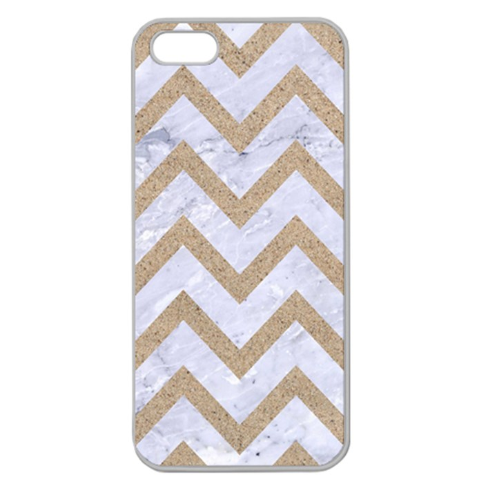 CHEVRON9 WHITE MARBLE & SAND (R) Apple Seamless iPhone 5 Case (Clear)