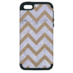 CHEVRON9 WHITE MARBLE & SAND (R) Apple iPhone 5 Hardshell Case (PC+Silicone)