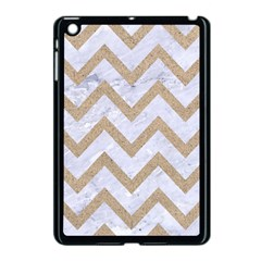 CHEVRON9 WHITE MARBLE & SAND (R) Apple iPad Mini Case (Black)