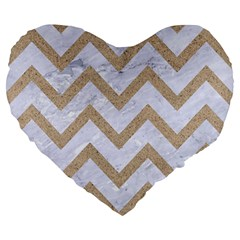 CHEVRON9 WHITE MARBLE & SAND (R) Large 19  Premium Heart Shape Cushions