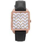 CHEVRON9 WHITE MARBLE & SAND (R) Rose Gold Leather Watch  Front