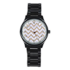 CHEVRON9 WHITE MARBLE & SAND (R) Stainless Steel Round Watch