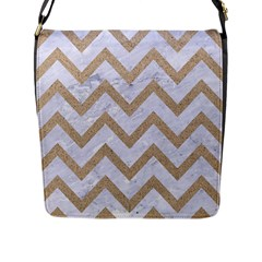 CHEVRON9 WHITE MARBLE & SAND (R) Flap Messenger Bag (L)