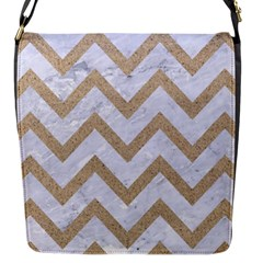 CHEVRON9 WHITE MARBLE & SAND (R) Flap Messenger Bag (S)