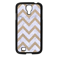 CHEVRON9 WHITE MARBLE & SAND (R) Samsung Galaxy S4 I9500/ I9505 Case (Black)