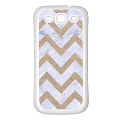 CHEVRON9 WHITE MARBLE & SAND (R) Samsung Galaxy S3 Back Case (White)