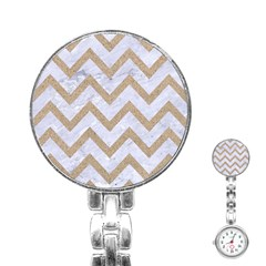 CHEVRON9 WHITE MARBLE & SAND (R) Stainless Steel Nurses Watch