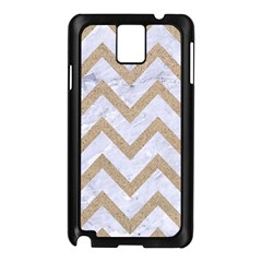 CHEVRON9 WHITE MARBLE & SAND (R) Samsung Galaxy Note 3 N9005 Case (Black)
