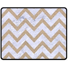 CHEVRON9 WHITE MARBLE & SAND (R) Double Sided Fleece Blanket (Medium)