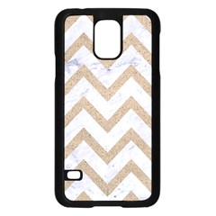 CHEVRON9 WHITE MARBLE & SAND (R) Samsung Galaxy S5 Case (Black)