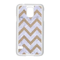 CHEVRON9 WHITE MARBLE & SAND (R) Samsung Galaxy S5 Case (White)