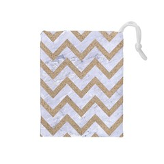 Chevron9 White Marble & Sand (r) Drawstring Pouches (medium)