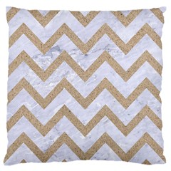 CHEVRON9 WHITE MARBLE & SAND (R) Large Flano Cushion Case (Two Sides)