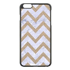 CHEVRON9 WHITE MARBLE & SAND (R) Apple iPhone 6 Plus/6S Plus Black Enamel Case