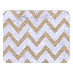 CHEVRON9 WHITE MARBLE & SAND (R) Double Sided Flano Blanket (Large)