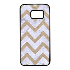 CHEVRON9 WHITE MARBLE & SAND (R) Samsung Galaxy S7 Black Seamless Case