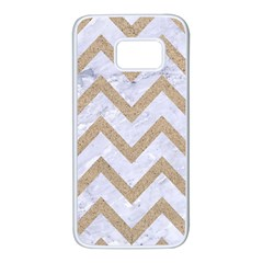 CHEVRON9 WHITE MARBLE & SAND (R) Samsung Galaxy S7 White Seamless Case