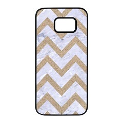 CHEVRON9 WHITE MARBLE & SAND (R) Samsung Galaxy S7 edge Black Seamless Case