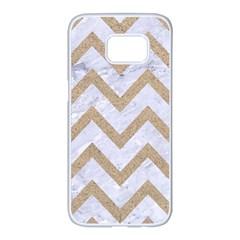 CHEVRON9 WHITE MARBLE & SAND (R) Samsung Galaxy S7 edge White Seamless Case