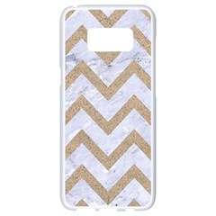 CHEVRON9 WHITE MARBLE & SAND (R) Samsung Galaxy S8 White Seamless Case