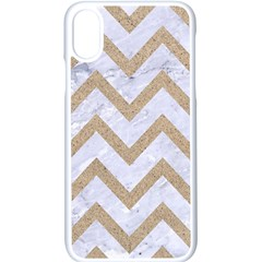 CHEVRON9 WHITE MARBLE & SAND (R) Apple iPhone X Seamless Case (White)
