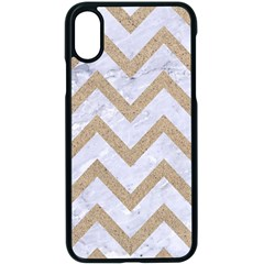 CHEVRON9 WHITE MARBLE & SAND (R) Apple iPhone X Seamless Case (Black)