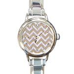 CHEVRON9 WHITE MARBLE & SAND Round Italian Charm Watch Front