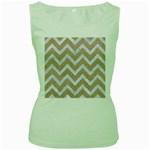 CHEVRON9 WHITE MARBLE & SAND Women s Green Tank Top