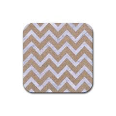 CHEVRON9 WHITE MARBLE & SAND Rubber Square Coaster (4 pack)