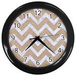 CHEVRON9 WHITE MARBLE & SAND Wall Clocks (Black)