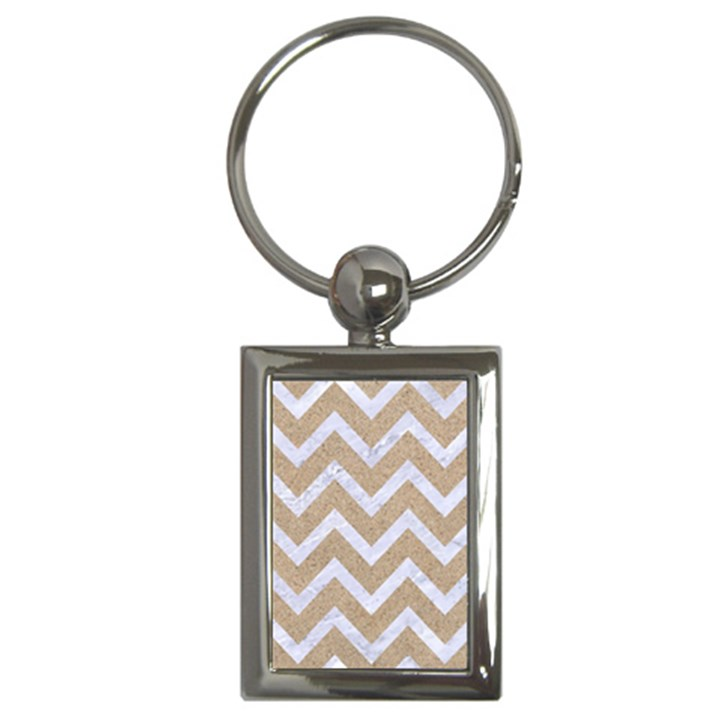 CHEVRON9 WHITE MARBLE & SAND Key Chains (Rectangle)