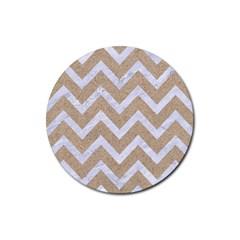 CHEVRON9 WHITE MARBLE & SAND Rubber Coaster (Round)